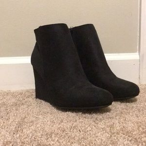 Black Suede Booties - size 9